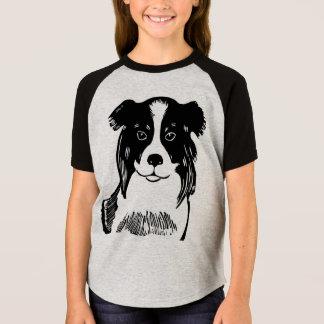 ボーダーコリーの女の子の短い袖のRaglanのTシャツ Tシャツ