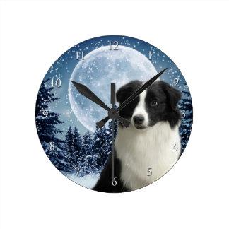 ボーダーコリーの時計 ラウンド壁時計