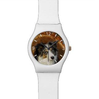 ボーダーコリーの青いMerle犬-ガーリーな目盛板 腕時計