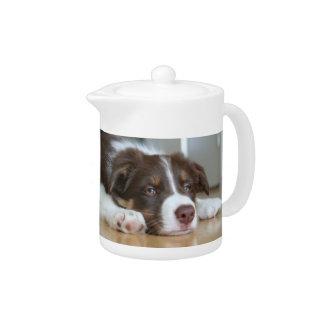 ボーダーコリーブラウン及び白い犬のティーポット