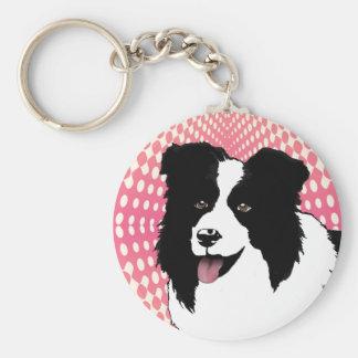 ボーダーコリー犬のポップアートペットはカスタマイズ キーホルダー