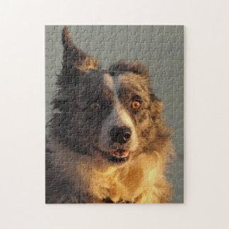ボーダーコリー犬のランニングのパズルかジグソーパズル ジグソーパズル