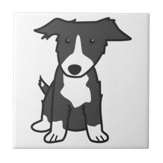ボーダーコリー犬の漫画 正方形タイル小