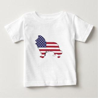 """ボーダーコリー- """"米国旗"""" ベビーTシャツ"""