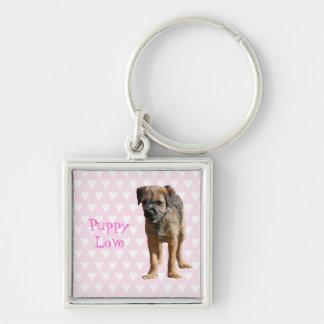 ボーダーテリアの小犬、初恋のkeychain キーホルダー