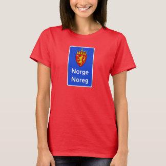 ボーダー印、交通標識、ノルウェー Tシャツ