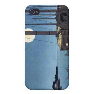 ボートが付いている川、Hiroshigeの月光場面 iPhone 4 ケース