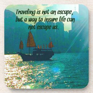ボートが付いている旅行の引用文のビクトリア景色の港 コースター