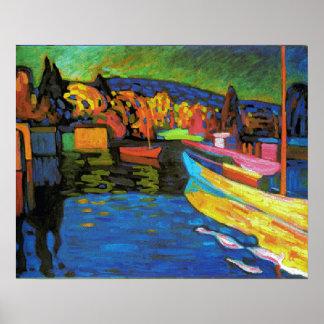 ボートとの秋の景色 ポスター
