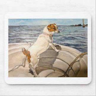 ボートのジャックラッセルテリア マウスパッド