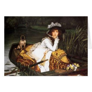 ボートのメッセージカードのジェームスTissotの若い女性 カード