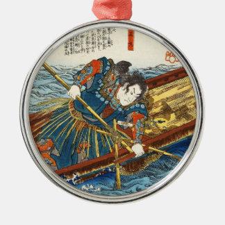 ボートのヴィンテージのukiyo-eのUtagawaのクラシックな武士 メタルオーナメント