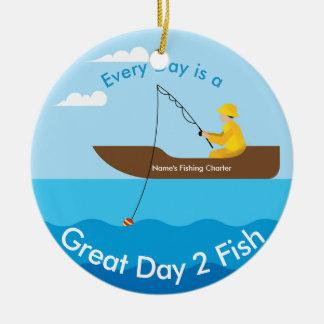 ボートの円の漁師 セラミックオーナメント