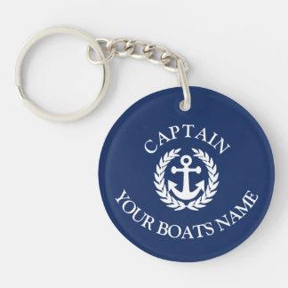 ボートの名前および大尉の航海のないかり キーホルダー