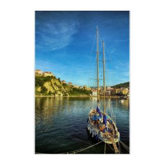 ボートの接近の海岸| Agropoli アクリルウォールアート