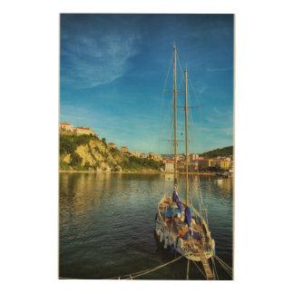 ボートの接近の海岸| Agropoli ウッドウォールアート