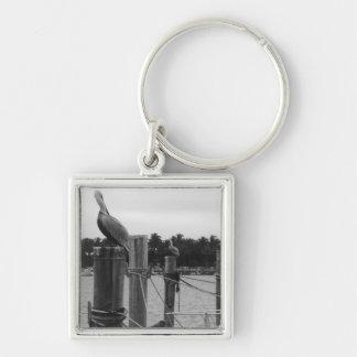 ボートの波止場の写真Keychainのフロリダのペリカン キーホルダー
