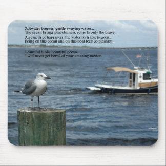 ボートの海のカモメの詩の詩歌のマウスパッド マウスパッド