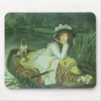 ボートの若い女性、か反射、c.1870 (油 マウスパッド