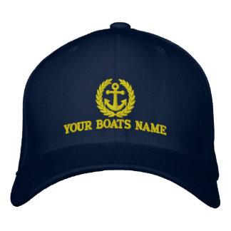 ボートは船員のいかりのモチーフと示します 刺繍入りキャップ