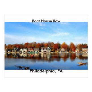 ボートハウスの列、フィラデルヒィアのPAの切手 ポストカード