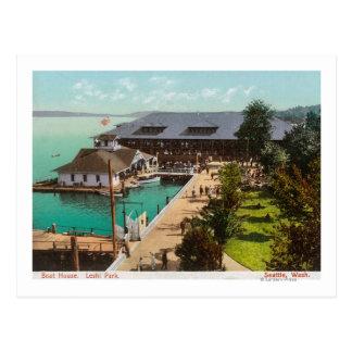 ボートハウス、湖、Leshi公園の空中写真 ポストカード
