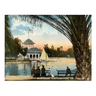 ボートハウス、Westlake公園のロサンゼルスの1914年のヴィンテージ ポストカード