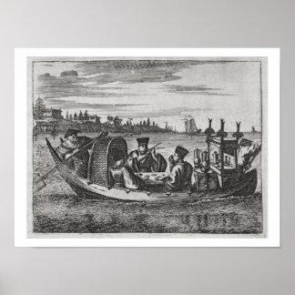 ボート、イラストレーションで食事する豊かなマンダリン ポスター