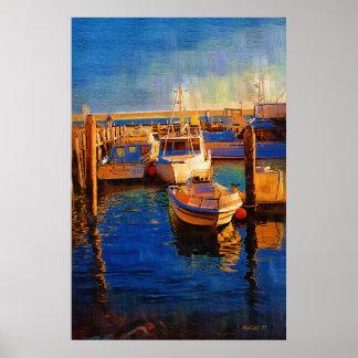 ボート、日没、Morro湾、Calif ポスター