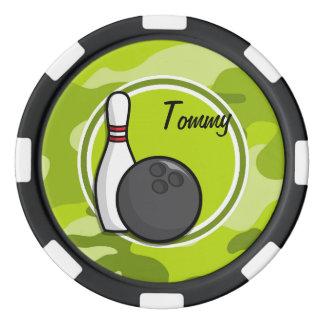 ボーリングをすること; 若草色の迷彩柄、カムフラージュ ポーカーチップセット