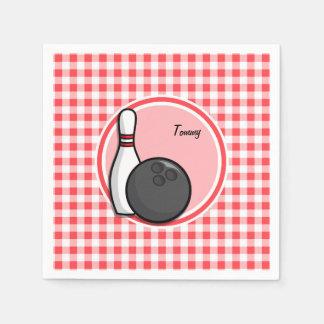 ボーリングをすること; 赤と白のギンガム スタンダードカクテルナプキン