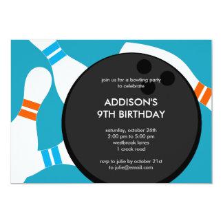 ボーリングをするパーティーの誕生日のパーティの招待状-青 12.7 X 17.8 インビテーションカード