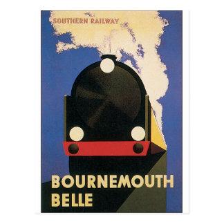 ボーンマスの美女の列車のヴィンテージ旅行ポスター ポストカード
