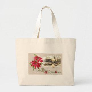 ポインセチアおよび冷ややかなヴィグネットのヴィンテージのクリスマス ラージトートバッグ