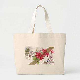 ポインセチアおよびShiveryヴィグネットのヴィンテージのクリスマス ラージトートバッグ