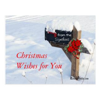 ポインセチアが付いているクリスマスのポストはそれをカスタマイズ ポストカード