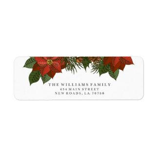 ポインセチアのクリスマスの宛名ラベル ラベル