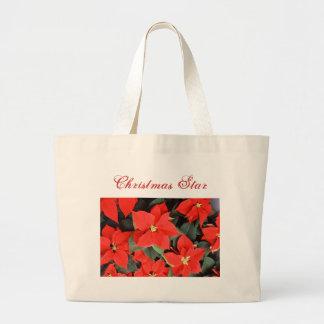 ポインセチアのクリスマスの星 ラージトートバッグ