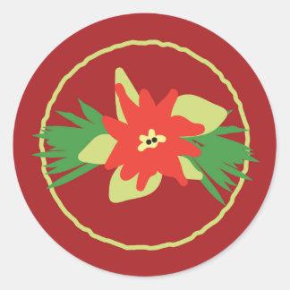 ポインセチアのクリスマスの植物相のステッカー ラウンドシール