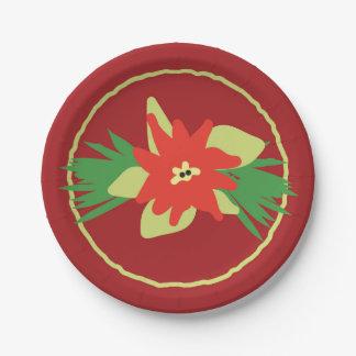 ポインセチアのクリスマスの植物相の紙皿 紙皿 小