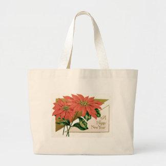 ポインセチアのクリスマスの花 ラージトートバッグ