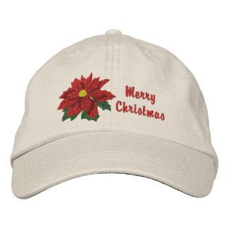 ポインセチアのクリスマス 刺繍入りキャップ