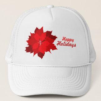 ポインセチアの休日のクリスマスの赤と白の帽子 キャップ