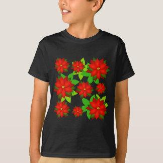 ポインセチアの花のスタイルのデザイン Tシャツ