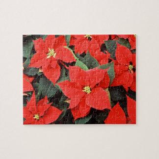 ポインセチアの赤いクリスマスの花 ジグソーパズル