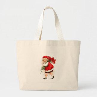 ポインセチアを運んでいるヴィンテージのイラストレーションの女の子 ラージトートバッグ