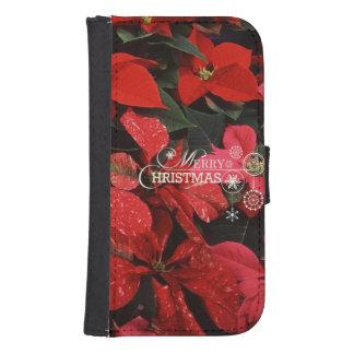 ポインセチア、メリークリスマス ウォレットケース