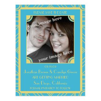 ポイントブロックの腰回りが大きで青いアールデコの保存日付のポスト ポストカード