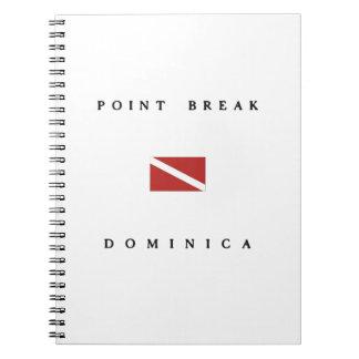 ポイント壊れ目のドミニカのスキューバ飛び込みの旗 ノートブック