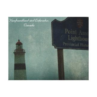 ポイント恋愛の灯台、ニューファウンドランドおよびラブラドール キャンバスプリント